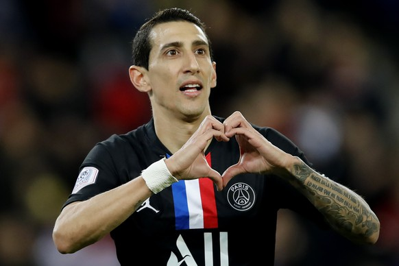 PSG's Angel Di Maria celebrates his goal against Montpellier during the French League One soccer match between Paris-Saint-Germain and Montpellier at the Parc des Princes stadium in Paris, Saturday Feb. 1, 2020. (AP Photo/Christophe Ena)Angel Di Maria