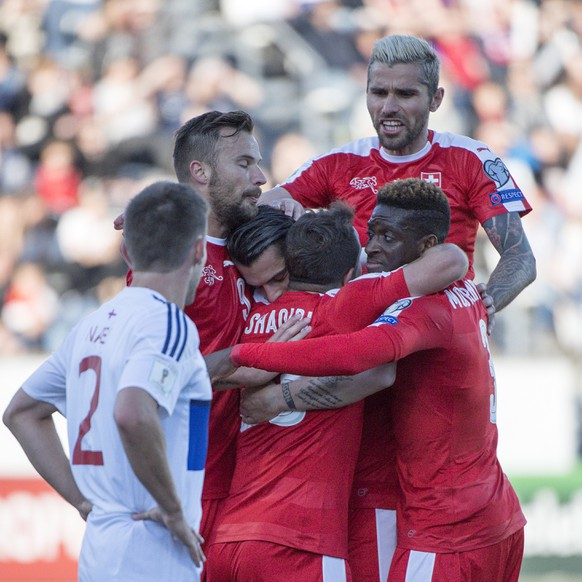 Switzerland's players cheer after scoring during the 2018 Fifa World Cup Russia group B qualification soccer match between Switzerland and Faroe Islands at the Torsvollur football stadium in Torshavn, Faroe Islands, on Friday, June 9, 2017. (KEYSTONE/Georgios Kefalas)