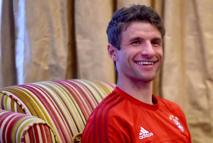 DOHA, QATAR - JANUARY 11:  Thomas Mueller is seen during a media talk at day six of the Bayern Muenchen training camp at Aspire Academ on January 11, 2016 in Doha, Qatar.  (Photo by Lars Baron/Bongarts/Getty Images)