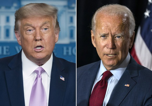 In this combination photo, president Donald Trump, left, speaks at a news conference on Aug. 11, 2020, in Washington and Democratic presidential candidate former Vice President Joe Biden speaks in Wilmington, Del. on Aug. 13, 2020. The conventions, which will be largely virtual because of the coronavirus, will be Aug. 17-20 for the Democrats and Aug. 24-27 for the Republicans. (AP Photo) Donald Trump,Joe Biden