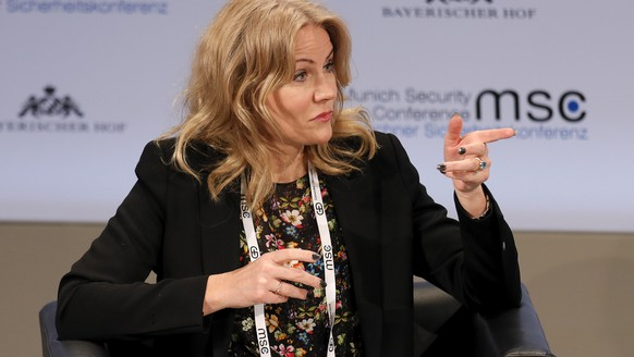 epa07376499 CEO of Save the Children International, Helle Thorning-Schmidt reacts during the 55th Munich Security Conference (MSC) in Munich, Germany, 17 February 2019. From 15 to 17 February, politicians, various experts and guests from all over the world will discuss global security issues in their annual meeting.  EPA/RONALD WITTEK