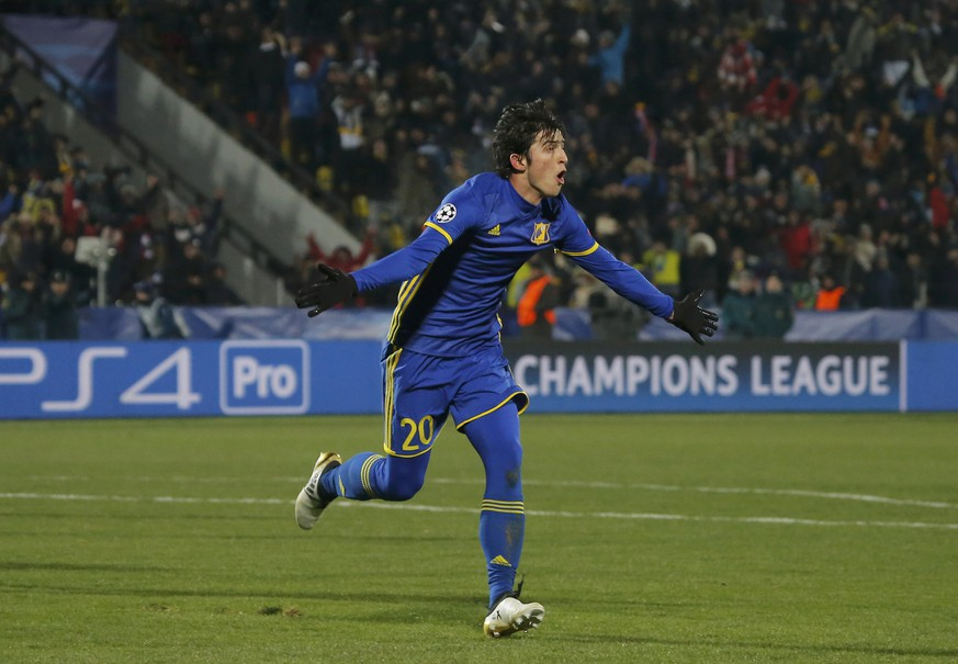 Football Soccer - FC Rostov v FC Bayern Munich - UEFA Champions League Group Stage - Group D - Olimp 2 Stadium, Rostov-on-Don, Russia - 23/11/16. FC Rostov's Sardar Azmoun celebrates after scoring a goal.  REUTERS/Maxim Shemetov