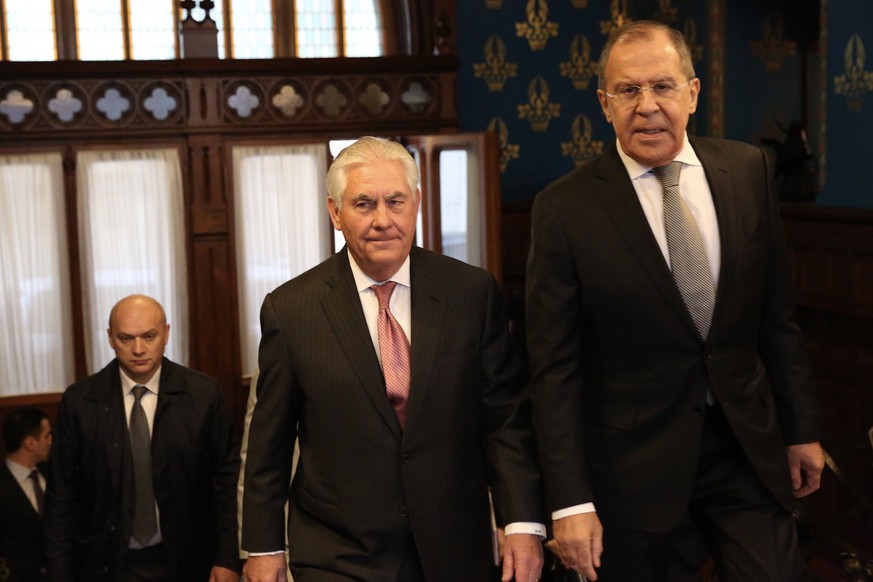 epa05904060 A handout photo made available by the US Department of State shows US Secretary of State Rex Tillerson (C) and Russian Foreign Minister Sergei Lavrov (R) ahead of their bilateral meeting at the Osobnyak Guest House in Moscow, Russia, 12 April 2017. Others are not identified. Rex Tillerson, who attended a G7 Foreign Ministers meeting on Syria in Lucca, Italy, the previous days, arrived in the Russian capital for a two-days working visit during which he is exspected to meet his Russian counterpart and to hold talks on solving the situation in Syria.  EPA/US DEPARTMENT OF STATE HANDOUT  HANDOUT EDITORIAL USE ONLY