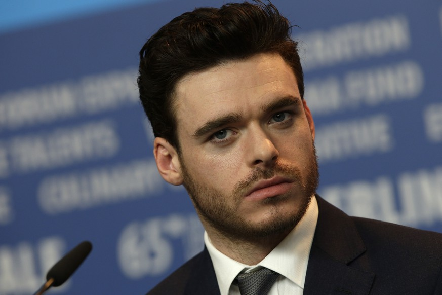Actor Richard Madden during the press conference for the film Cinderella at the 2015 Berlinale Film Festival in Berlin, Friday,Feb. 13, 2015. (AP Photo/Michael Sohn)