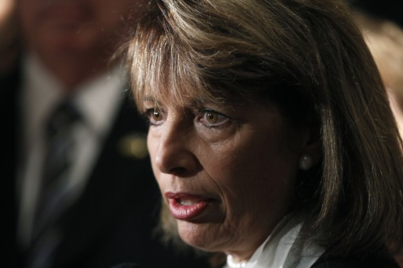 FILE - In this Aug. 30, 2011 file photo, Rep. Jackie Speier, D-Calif., talks to reporters in Washington. Speier, a lawmaker who testified that two sitting members of Congress have engaged in sexual harassment said Wednesday, Nov. 15, 2017, she isn't identifying them because the victims don't want the lawmakers named publicly. Speier said she is barred from identifying one member because of a non-disclosure agreement, and isn't identifying the second lawmaker at the victim's request  .(AP Photo/Charles Dharapak, File)