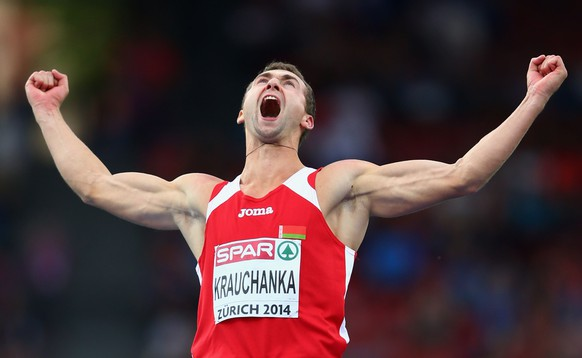 ZURICH, SWITZERLAND - AUGUST 12: Andrei Krauchanka of Belarus celebrates as he competes in the Men's Decathlon High Jump during day one of the 22nd European Athletics Championships at Stadium Letzigrund on August 12, 2014 in Zurich, Switzerland.  (Photo by Michael Steele/Getty Images)