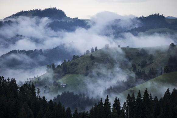 Nebelschwaden ziehen ueber Huegel im Emmental, am Samstag, 26. Juli 2014 vom Schallenberg aus gesehen. (KEYSTONE/Peter Klaunzer)