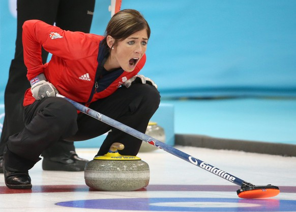 epa04090318 Eve Muirhead of Great Britain reacts during the Bronze Medal match between Switzerland and Great Britain in the Women's Curling competition in the Ice Cube Curling Center at the Sochi 2014 Olympic Games, Sochi, Russia 20 February 2014.  EPA/TATYANA ZENKOVICH