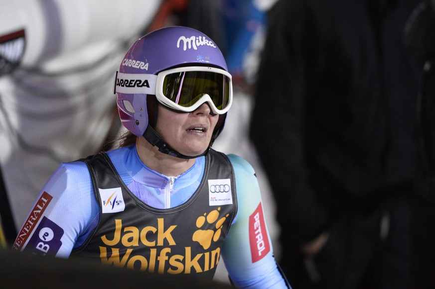 Tina Maze of Slovenia reacts after the second run of women's giant slalom event at the Alpine Skiing World Cup in Are March 13, 2015. REUTERS/Pontus Lundahl/TT News Agency (SWEDEN - Tags: SPORT SKIING) ATTENTION EDITORS - THIS IMAGE WAS PROVIDED BY A THIRD PARTY. THIS PICTURE IS DISTRIBUTED EXACTLY AS RECEIVED BY REUTERS, AS A SERVICE TO CLIENTS. FOR EDITORIAL USE ONLY. NOT FOR SALE FOR MARKETING OR ADVERTISING CAMPAIGNS. SWEDEN OUT. NO COMMERCIAL OR EDITORIAL SALES IN SWEDEN. NO COMMERCIAL SALES