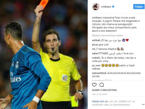 Sperre: Ronaldo fühlt sich verfolgt!
