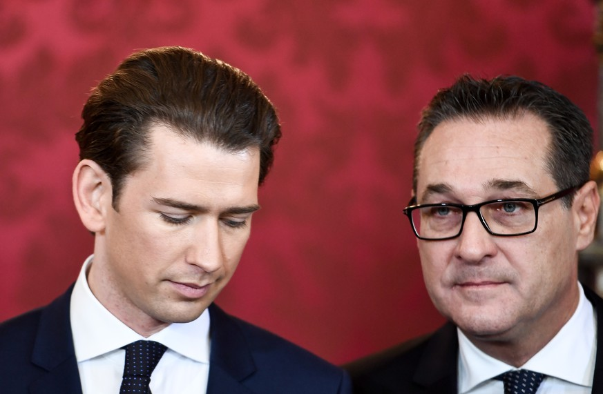 epa07580056 (FILE) - Austrian Chancellor Sebastian Kurz (L) and Vice-Chancellor Heinz-Christian Strache (R) at the presidential office of the Hofburg Palace in Vienna, Austria, 18 December 2017 (reissued 18 May 2019). According to reports, Kurz will meet Strache on 18 May 2019 and is expected to end cooperation as media caught Strache in a corruption scandal. German merdia have on 17 May 2019 published a secretly recorded video of Strache in Ibiza in July 2017, where Heinz-Christian Strache is claimed to meet an alleged niece of a unknown Russian oligarch who wanted to invest large sums of money in Austria.  EPA/CHRISTIAN BRUNA *** Local Caption *** 53966670