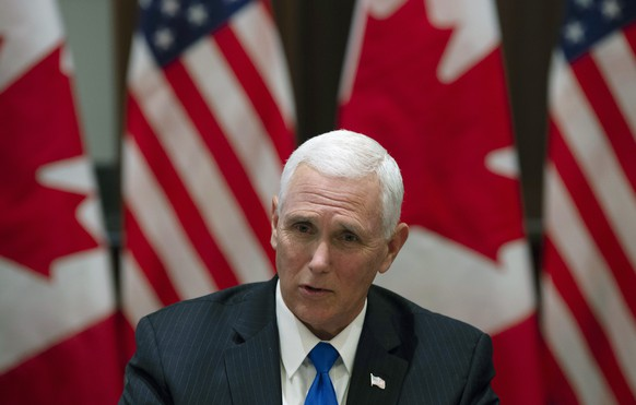 U.S. Vice President Mike Pence speaks during a meeting with Canadian Prime Minister Justin Trudeau on Parliament Hill in Ottawa, Ontario, Thursday, May 30, 2019. (Adrian Wyld/The Canadian Press via AP)
