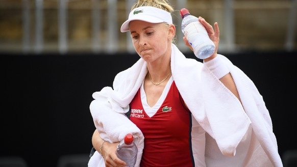 Jil Teichmann from Switzerland reacts after loosing against Maryna Zanevska from Belgium during the first round match at the WTA International Ladies Open Lausanne tournament, in Lausanne, Switzerland, Thursday, July 15, 2021. (KEYSTONE/Laurent Gillieron)