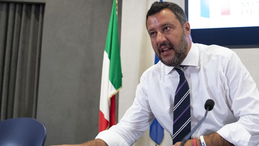 epa07759233 Italian vice premier and Interior minister, Matteo Salvini speaks during the press conference at the end of the meeting with the industrial and trade union organizations, at the Viminale building in Rome, Italy, 06 August 2019.  EPA/MAURIZIO BRAMBATT