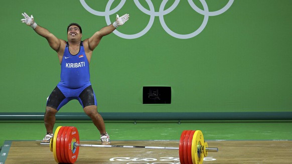 2016 Rio Olympics  Weightlifting - Final - Men's 105kg - Riocentro - Pavilion 2 - Rio de Janeiro, Brazil - 15/08/2016. David Katoatau (KIR) of Kiribati reacts. REUTERS/Stoyan Nenov FOR EDITORIAL USE ONLY. NOT FOR SALE FOR MARKETING OR ADVERTISING CAMPAIGNS.
