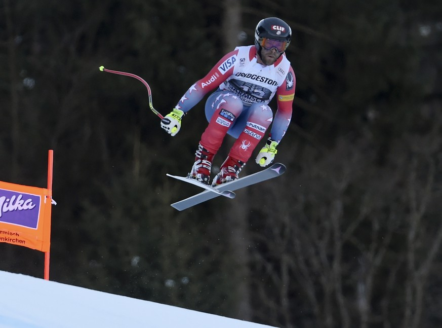 United States' Travis Ganong competes during an alpine ski, men's World Cup downhill race, in Garmisch Partenkirchen, Friday, Jan. 27, 2017. (AP Photo/Marco Tacca)
