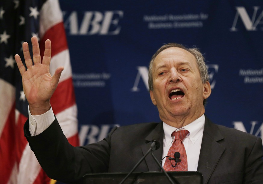 Former U.S. Secretary of the Treasury and Harvard University's Lawrence Summers delivers remarks at the National Association for Business Economics Policy Conference in Arlington, Virginia February 24, 2014.   REUTERS/Gary Cameron (UNITED STATES - Tags: POLITICS BUSINESS)