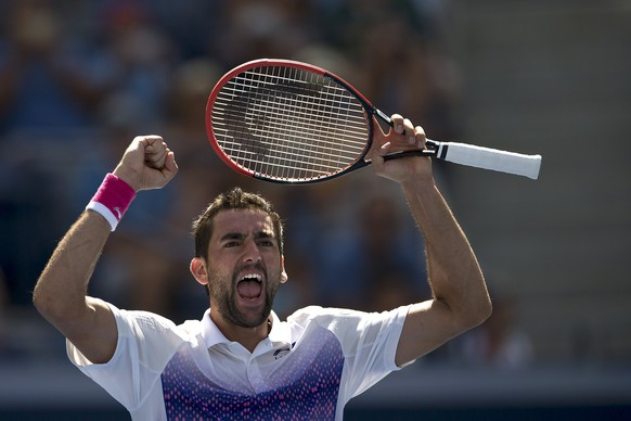 Marin Cilic of Croatia celebrates defeating Jeremy Chardy of France during their fourth round match at the U.S. Open Championships tennis tournament in New York, September 6, 2015.       REUTERS/Carlo Allegri
