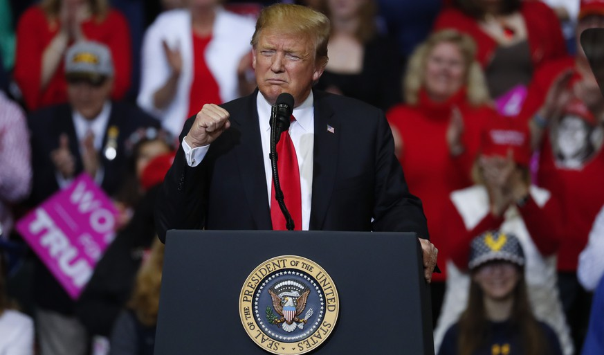 President Donald Trump speaks during a rally in Grand Rapids, Mich., Thursday, March 28, 2019. (AP Photo/Paul Sancya)