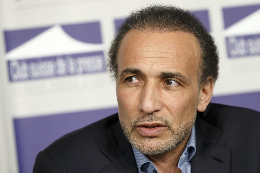 epa06343714 (FILE) A file picture dated 23 March 2016 shows Swiss philosopher and professor of Contemporary Islamic Studies Tariq Ramadan speaking during a panel session 'How can religion contribute to fight against extremism?', at the Geneva Press Club in Geneva, Switzerland. Several women have filed rape charges or sexual assault against Tariq Ramadan in the past month. Ramadan denied accusations. He is on leave from Oxford University where he was teaching as a professor.  EPA/SALVATORE DI NOLFI