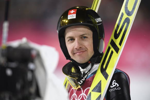 Simon Ammann of Switzerland reacts during the Ski Jumping Men Individual Large Hill Qualifications in the Alpensia Biathlon Center during the XXIII Winter Olympics 2018 in Pyeongchang, South Korea, on Friday, February 16, 2018. (KEYSTONE/Gian Ehrenzeller)