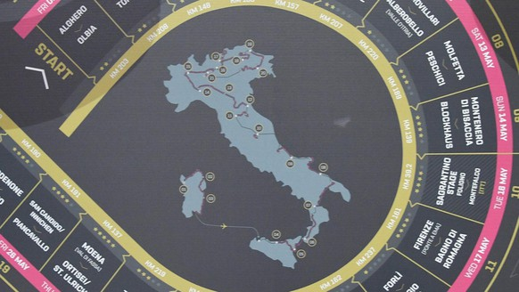 A map with the course, shown by the organization during the presentation of the 100th edition of the Giro d'Italia, Tour of Italy cycling race in Milan, Italy, Tuesday, Oct. 25, 2016. The May 5-28 race will start with three stages in Sardinia to honor cyclist Fabio Aru followed by two legs in Sicily for Vincenzo Nibali. (Luca Zennaro/ANSA via AP)