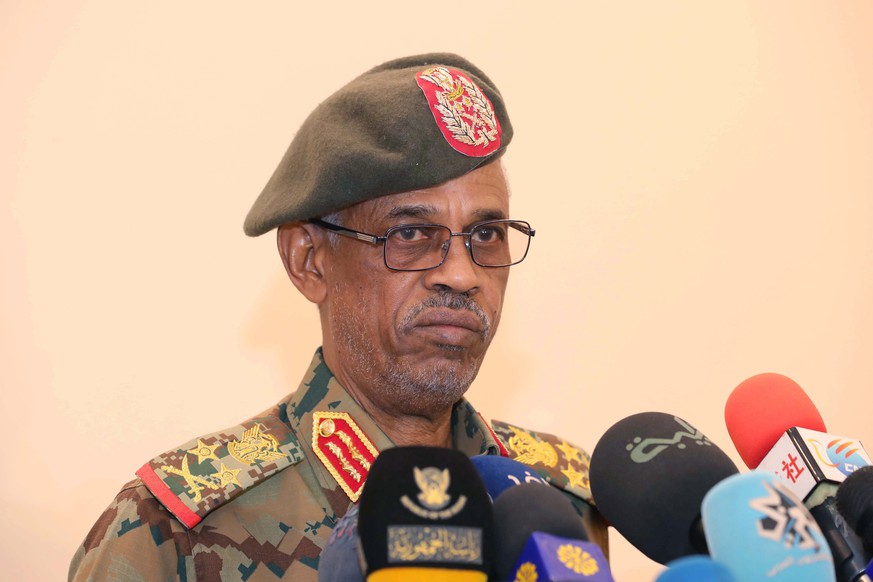 epa07501427 Awad Ibn Auf, the Sudanese Defense Minister speaking in Khartoum, Sudan, 27 February 2019, issued 12 April 2019. Reports state that Awad Ibn Auf, the Sudanese Defense Minister Vice President and Chief of Sudan's new ruling Council since 11 April 2019  announced that Sudan's President Omar al-Bashir has been ousted and arrested by the military after nearly 30 years in power and that the future would be decided by the protesters who took to the streets.  EPA/STR