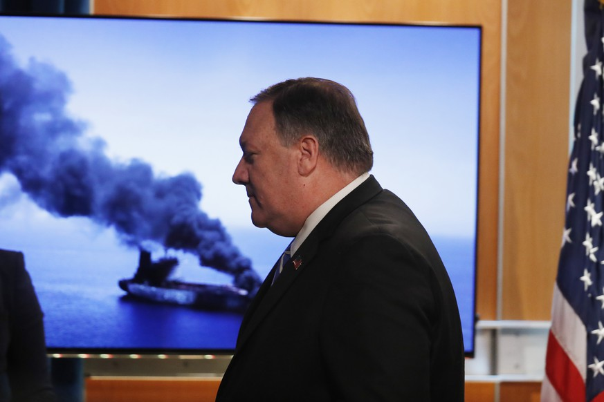 Secretary of State Mike Pompeo walks away after speaking during a media availability at the State Department, Thursday, June 13, 2019, in Washington. (AP Photo/Alex Brandon)