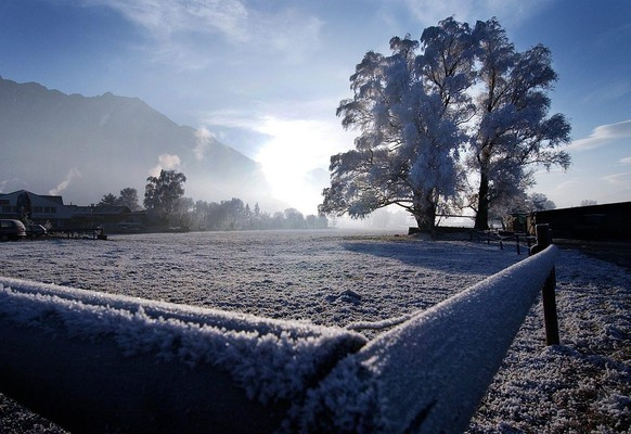 Cold winterimpression in the Rheintal near Schaan, in Liechtenstein, seen on Thursday, December 16, 2004. (KEYSTONE/Eddy Risch)