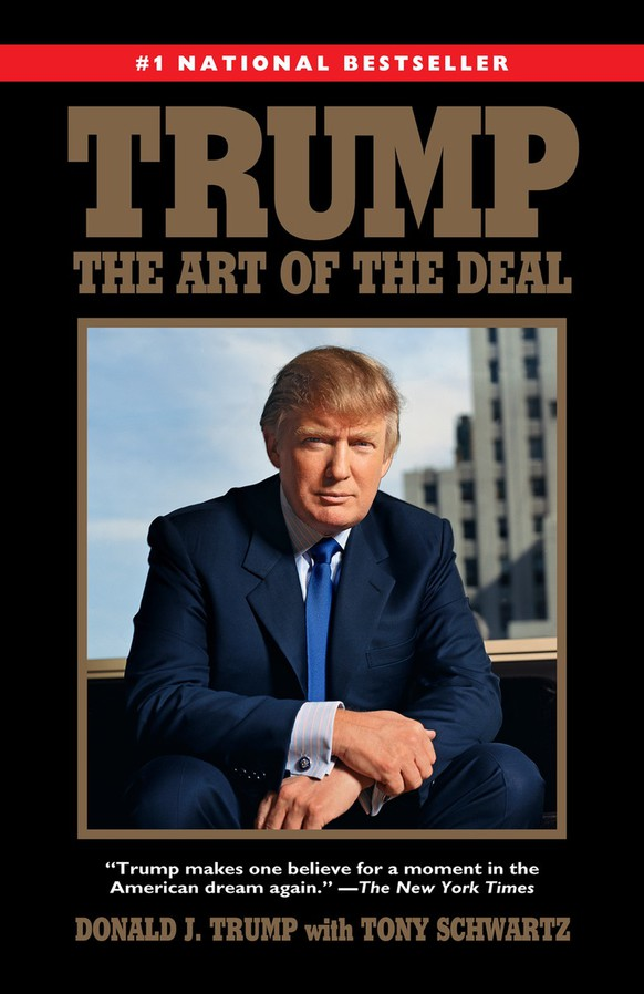 """This book cover image released by Ballantine Books shows the 2015 paperback reprint edition of  the 1987 book, """"Trump: The Art of the Deal,"""" by Donald Trump with Tony Schwartz. Trump's first book was a memoir/manifesto dedicated to a life of big-time negotiating. Hillary Rodham Clinton debuted with a call for community involvement in raising the young with """"It Takes A Village: And Other Lessons Children Teach Us."""" Trump agreed to a six-figure contract for """"The Art of the Deal."""" For """"It Takes a Village,"""" then-first lady Clinton accepted no advance and donated most of the royalties to charity. (Ballantine Books via AP)"""