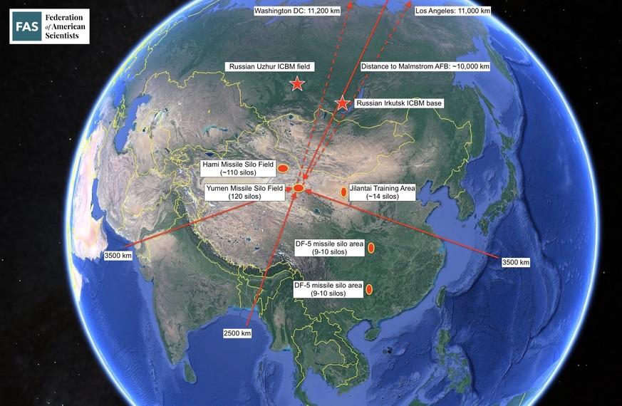 Die Raketensilofelder Hami und Yumen liegen tief im Inneren Chinas und ausserhalb der Reichweite von konventionellen Marschflugkörpern.