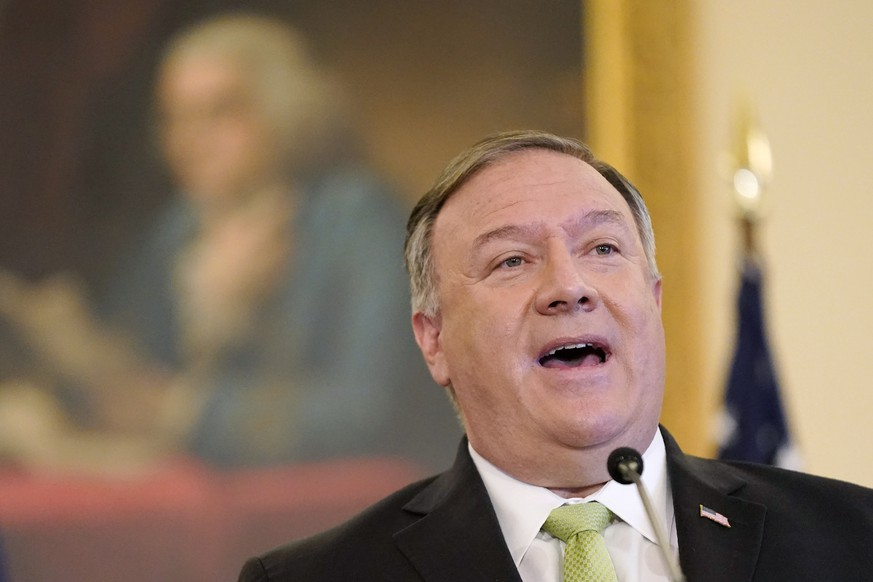 Secretary of State Mike Pompeo speaks during a news conference to announce the Trump administration's restoration of sanctions on Iran, Monday, Sept. 21, 2020, at the U.S. State Department in Washington. (AP Photo/Patrick Semansky) Mike Pompeo