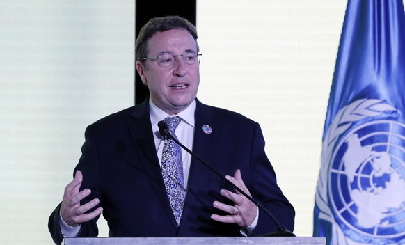 epa08058386 United Nations Development Program (UNDP) Administrator Achim Steiner speaks during the UNDP Human Development Report 2019 presentation, in Bogota, Colombia, 09 December 2019. Colombian President Ivan Duque announced that he will sign this week the Escazu Agreement, which seeks to improve human rights and environmental protection in Latin America and the Caribbean.  EPA/Mauricio Duenas Castaneda