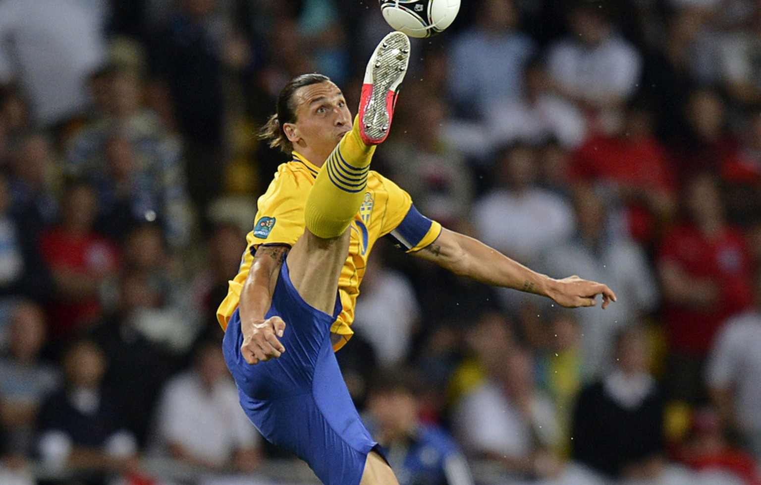 Sweden's Zlatan Ibrahimovic tries to stop the ball during the Euro 2012 soccer championship Group D match between Sweden and England in Kiev, Ukraine, Friday, June 15, 2012. (AP Photo/Martin Meissner)