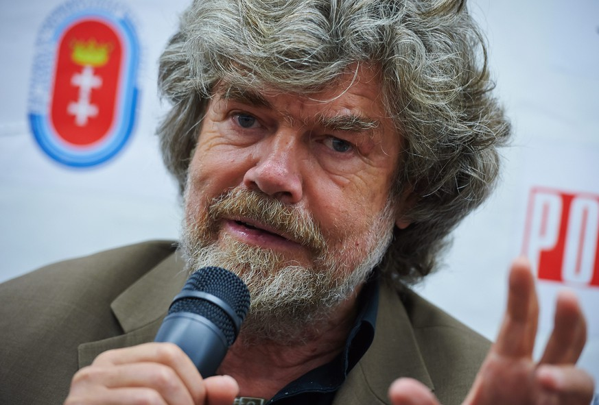 epa04287782 Italian mountaineer Reinhold Messner during a press conference before the unveiling of the monument 'Crown of the Himalayas' in Wladyslawowo, Poland, 28 June 2014. Messner became the first person to climb all of the world's fourteen 'eight-thousanders' (peaks of over 8,000 meters above sea level).  EPA/ADAM WARZAWA POLAND OUT