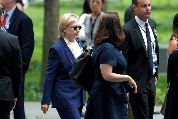 U.S. Democratic presidential candidate Hillary Clinton arrives for ceremonies to mark the 15th anniversary of the September 11 attacks at the National 9/11 Memorial in New York, New York, United States September 11, 2016.  REUTERS/Brian Snyder