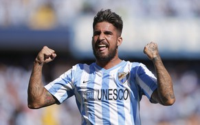 epa04464326 FC Malaga's forward Samuel Garcia Sanchez celebrates a score  against Rayo Vallecano during their Spanish First Division League soccer match at La Rosaleda stadium in Malaga, south-eastern Spain, 26 October 2014.  EPA/Jorge Zapata