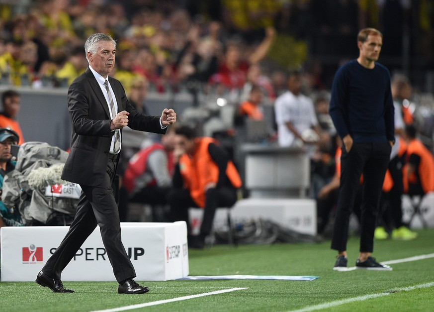 epa05484882 Carlo Ancelotti, coach of Bayern Munich reacts after the 2-0 during the German DFL Super Cup match between Borussia Dortmund and Bayern Munich in Dortmund, Germany, 14 August 2016.  EPA/Ina Fassbender