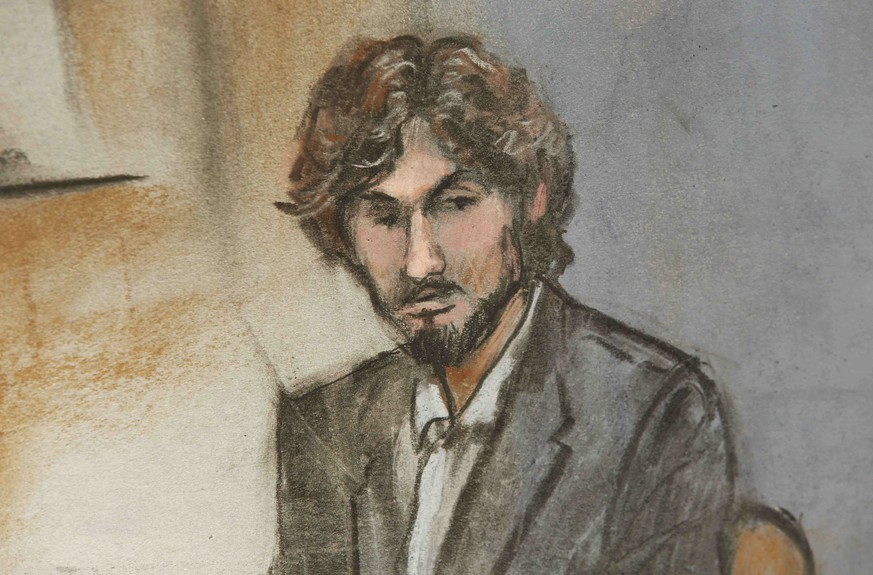 A courtroom sketch shows Boston Marathon bomber Dzhokhar Tsarnaev during his sentencing in Boston, Massachusetts June 24, 2015. Dzhokhar Tsarnaev on Wednesday apologized for the deadly 2013 attack at a hearing, and U.S. District Judge George O'Toole formally sentenced him to death for killing four people and injuring 264 in the bombing and its aftermath.  REUTERS/Jane Flavell Collins  NO SALES. NO ARCHIVES. FOR EDITORIAL USE ONLY. NOT FOR SALE FOR MARKETING OR ADVERTISING CAMPAIGNS