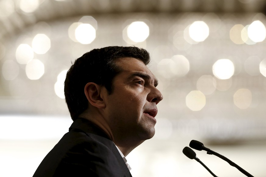 Greek Prime Minister Alexis Tsipras delivers a speech during the Economist Conference on