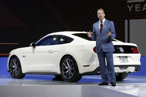 Ford Motor Company CEO and President Bill Ford delivers his remarks during the introduction of the 2015 Ford Mustang 50 Year Limited Edition, at the 2014 New York International Auto Show at the Javits Convention Center, Wednesday, April 16, 2014, in New York. (AP Photo/Richard Drew)