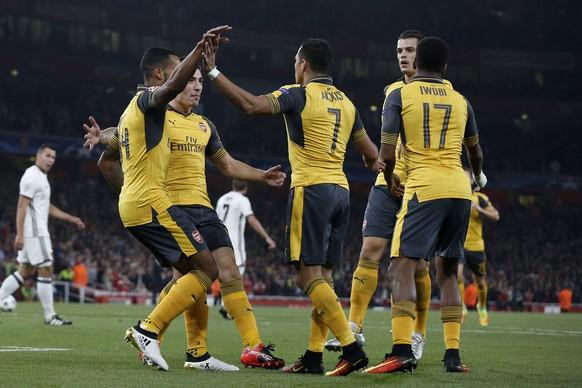 28.09.2016; London; Fussball Champions League - FC Arsenal - FC Basel; Jubel bei Arsenal nach dem Tor zum 1:0  (Christian Pfander/freshfocus)