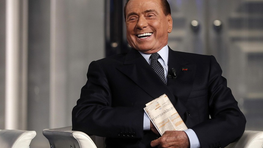 epa07590263 Italian former prime minister and President of Forza Italia (FI) party, Silvio Berlusconi, attends the Raiuno Italian program 'Porta a porta' presented by Italian journalist Bruno Vespa in Rome, Italy, 21 May 2019.  EPA/Riccardo Antimiani