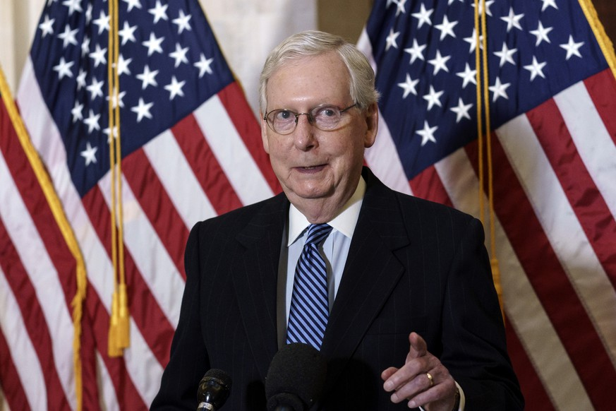 Senate Majority Leader Mitch McConnell, R-Ky., talks briefly to reporters after the Republican Conference held leadership elections, on Capitol Hill in Washington, Tuesday, Nov. 10, 2020. (AP Photo/J. Scott Applewhite) Mitch McConnell