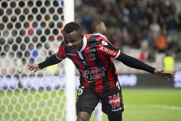 epa05660173 OGC Nice's Jean-Michael Seri, celebrates after scoring a goal during the French Ligue 1 soccer match, between OGC Nice and  Toulouse FC, at the Allianz Riviera stadium, in Nice, France, Sunday, December 4, 2016.  EPA/JEAN-CHRISTOPHE BOTT
