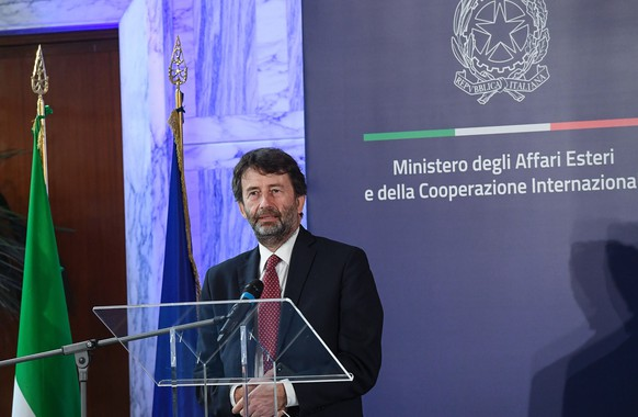 epa08472343 Italian Minister of Culture Dario Franceschini during the presentation of 'Patto per l'export' at Farnesina, Rome, Italy, 08 June 2020.  The agreement presents the government's strategy to support Italian companies that export abroad in the wake of the outbreak of the pandemic of the COVID-19 disease caused by the SARS-CoV-2 coronavirus, reports state.  EPA/ALESSANDRO DI MEO