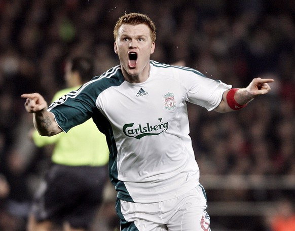 Liverpool's John Arne Riise celebrates his goal against Barcelona during his Champions League first knockout round, first-leg soccer match at in Barcelona, Spain Wednesday Feb. 21, 2007. (AP Photo/Manu Fernandez) WO SPIELT HEUTE?
