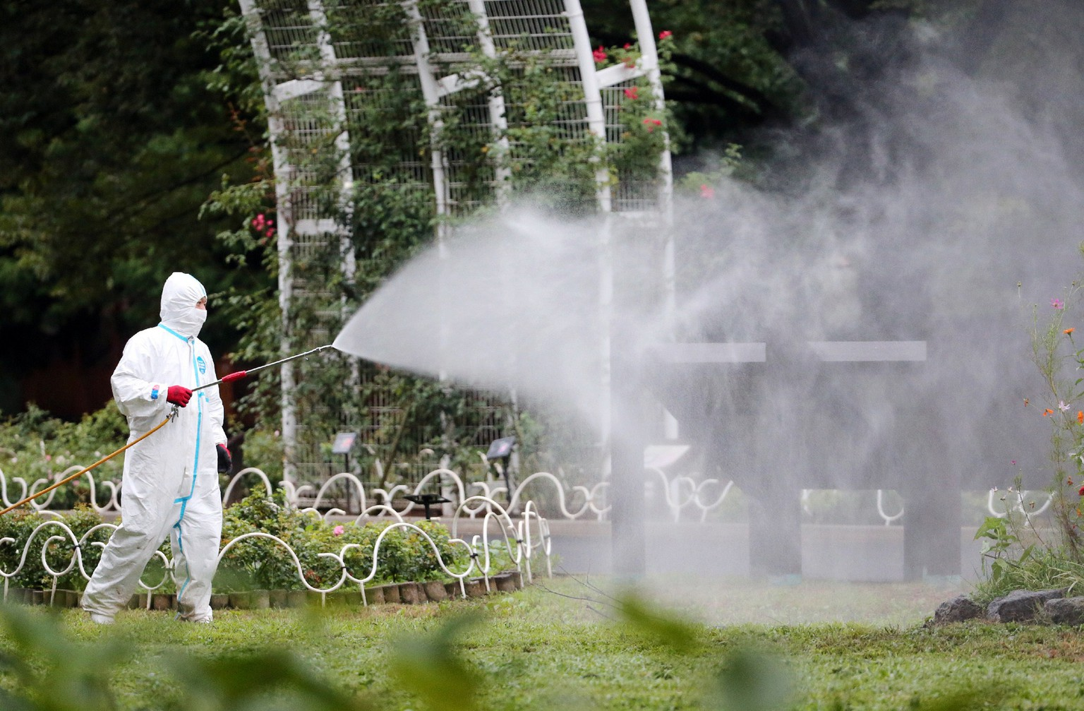 This picture taken on August 28, 2014 shows a worker spraying insecticide at the Yoyogi park, one of the largest open spaces in central Tokyo, believed to be the source of the mosquito-borne dengue fever. An outbreak of dengue fever in Japan -- the first since World War II -- could have affected up to 20 people, media reported on September 1, as officials confirmed three more cases.      AFP PHOTO / JIJI PRESS   ==JAPAN OUT==