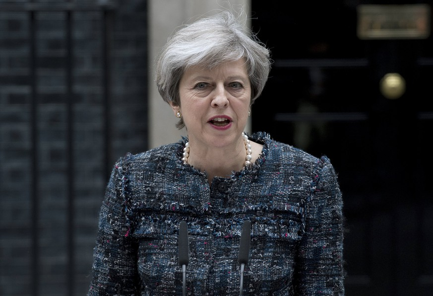 epa05982646 (FILE) - British Prime Minister Theresa May delivers a statement outside of No. 10 Downing Street in London, Britain, 03 May 2017 (23 May 2017). Prime Minister Theresa May is expected to chair a meeting of the Government's emergency Cobra committee on 23 May 2017, following reports of an explosion at Manchester Arena on 22 May 2017 evening. According to a statement released by the Greater Manchester Police, at least 19 people have been confirmed dead and around 50 others were injured. The happening is currently treated as a terrorist incident until police know otherwise. According to reports quoting witnesses, a mass evacuation was prompted after explosions were heard at the end of US singer Ariana Grande's concert in the arena. Prime Minister Theresa May condemned the incident as 'an appalling terrorist attack.'  EPA/WILL OLIVER