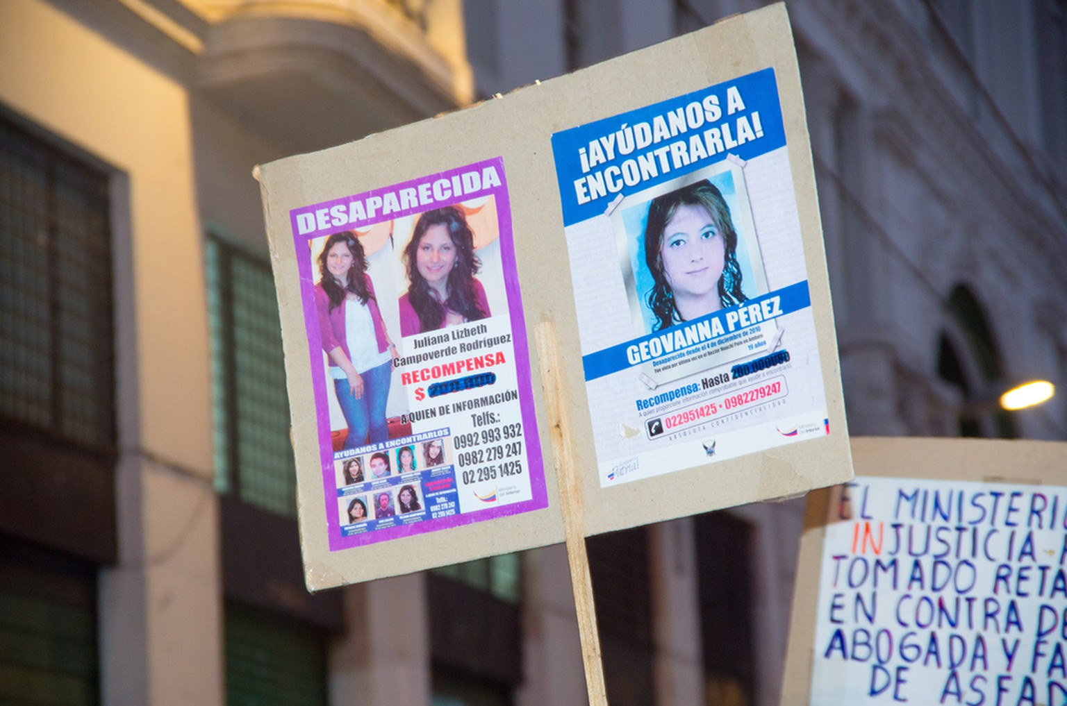QUITO, ECUADOR- MAY 06, 2017: Woman holding a sign during a protest with the slogan alive we want them, protest against the femicide in Quito Ecuador